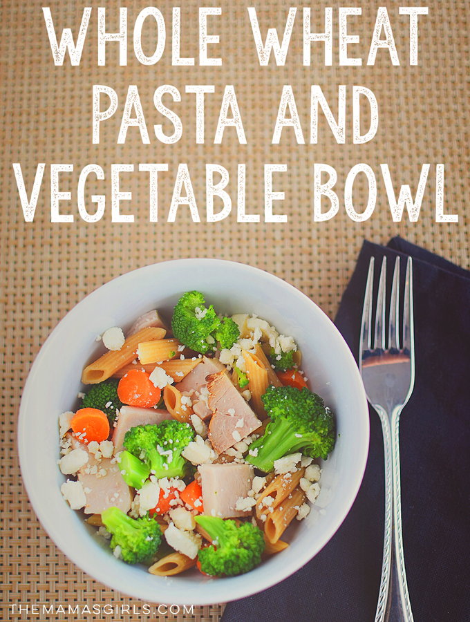 whole wheat pasta and vegetable bowl - amazing