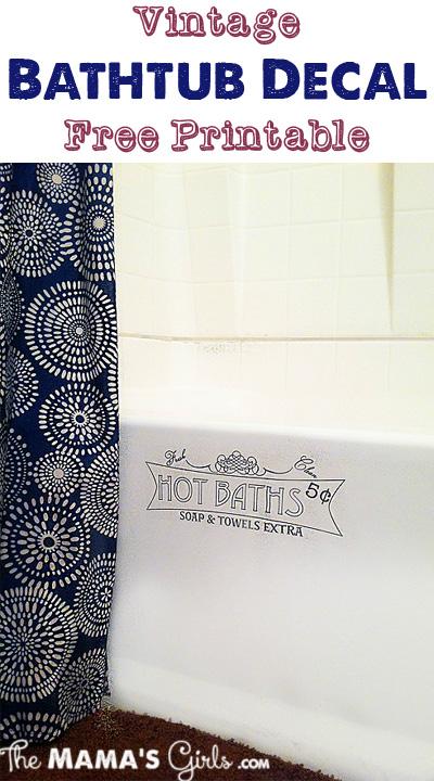 Vintage Bathtub Decal Free Printable
