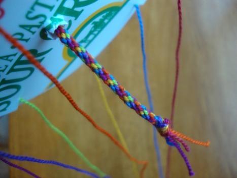 rainbow friendship bracelet finished