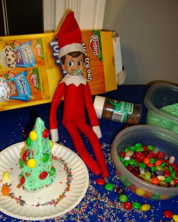 elf on a shelf with green frosting