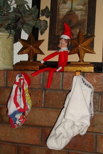 elf on the shelf hangs underwear