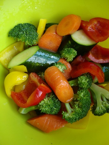 vegetables tossed in olive oil