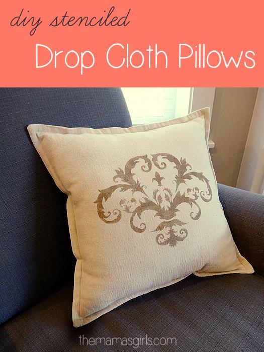 Stenciled Drop Cloth Throw Pillow