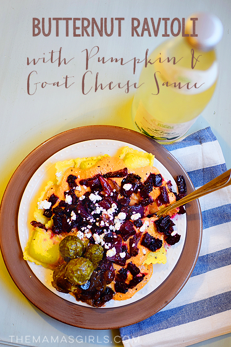 Butternut Ravioli with Pumpkin & Goat Cheese Sauce