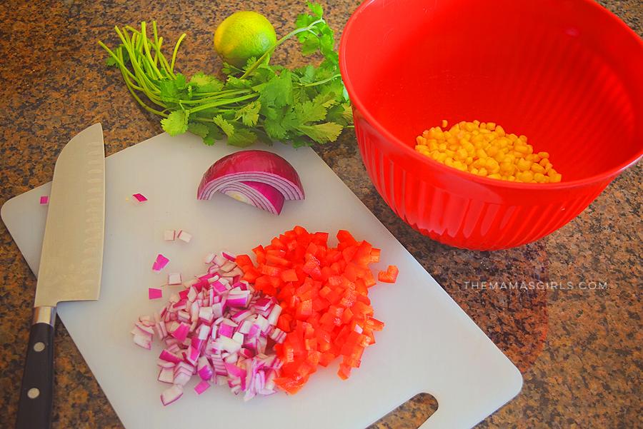 Grilled Mini Turkey Taco Patties - chop veggies