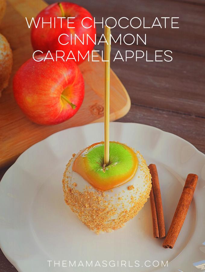 White Chocolate Cinnamon Caramel Apples